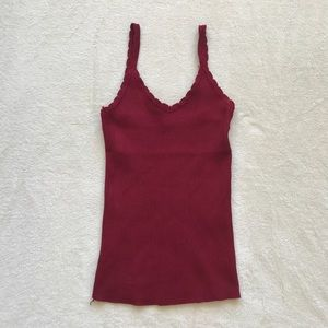 NWOT✨red ribbed lace camisole tank top
